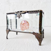 Beveled Glass Jewelry Box with a Pink REAL by EarthSeaWarrior
