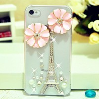 Pink Flowers Luxury 3D Handmade Tower Crystal Case Cover Skin For iPhone 4 4G 4S