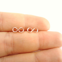Mini Infinity Studs, Earrings, Rose Gold, Memorial Weekend Sale