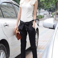 2013 New Women Fashion Harem Skinny Long Trousers OL Casual Slim Bow Pant