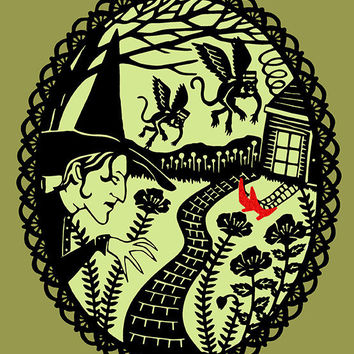 Wizard of Oz - Print of Original Papercut - 8x10 Fine Art Illustration