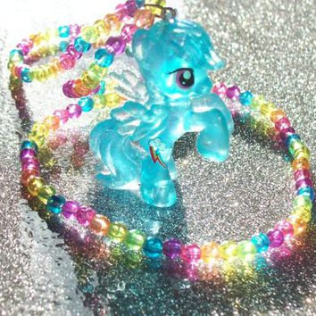 Neon Glitter Rainbow Dash Necklace from On Secret Wings
