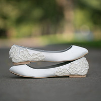 Wedding Shoes - Ivory Wedding Shoes/Wedding Ballet Flats with Ivory Lace. US Size 8