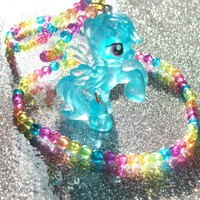 Neon Glitter Rainbow Dash Necklace