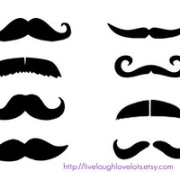 Fingerstache Mustache Temporary Tattoos Set by livelaughlovelots