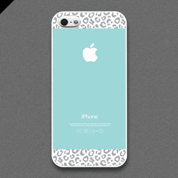 iPhone 5 case  Tiffany Teal and Gray Leopard Pattern by evoncase