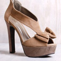 Qupid Drama-42 Taupe Velvet Bow Platform Heel in Shoes All Shoes at Frock Candy