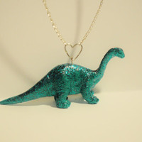 Adopt your Own Sparkly Dinosaur Necklace CUSTOM by ThePrettyDoGood
