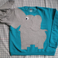 Elephant Trunk sleeve sweatshirt sweater jumper LADiES XL PEACOCK Blue