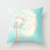 Aqua Dandelion Throw Pillow by Sylvia C | Society6