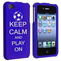 Amazon.com: Apple iPhone 4 4S Blue Rubber Hard Case Snap on 2 piece Keep Calm and Play On Soccer: Cell Phones & Accessories