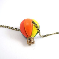 Free Shipping Hot Air Balloon Necklace Rainbow by MistyAurora