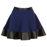 Blue Contrast Hem Skater Skirt - New In This Week  - New In