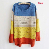 Fashion Women Long Sleeve Knit Sweater Loose Top Pullover Knitwear Jumper