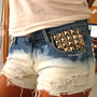 Pyramid Studded Ombre Distressed Jean Shorts