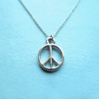 Simple Meaningful, Peace, Silver Plated, Necklace