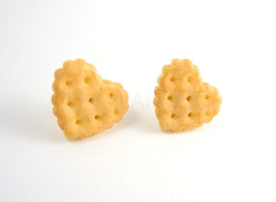 Free Shipping Beige Cookie Hearts Stud Earrings by MistyAurora
