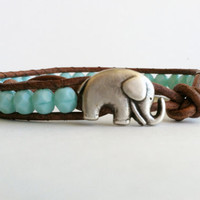 Good Luck Elephant, Blue Turquoise Czech Glass Leather Wrap Bracelet, Chan Luu Style