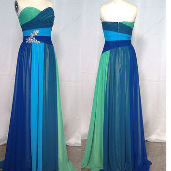 Long Strapless Sweetheart Chiffon Evening Gown, Prom Dress, Evening Dress, Party Dress