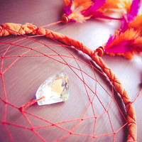 Dream Catcher - Sunny Days - With Clear Crystal Prism, Orange and Pink Feathers, Hand Dyed Orange Frame, Red Nett - Home Decor, Mobile