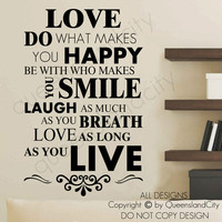 Happy Live Laugh Love Smile Inspirational Quote Wall Art Vinyl Decal Sticker