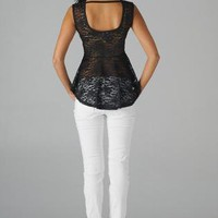Black Sleeveless Lace Peplum Top with Cutout Back