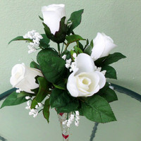 Silk Floral Arrangement, Valentine's Day Roses, White Roses, Decorative Vase (V2)