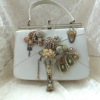 Wedding Steampunk purse, white, avant garde, vintage jewelry n hardware, Neo Vintage Couture, Runway Handbag, OOAK, LAYAWAY PLANS