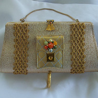 Formal Gold clutch, purse, gemstones, vintage jewelry and change purse on front, Classic, Clean line Couture, LAYAWAY PLANS