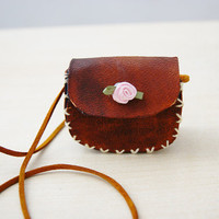 Tiny Leather Necklace Bag Handmade by EmmasCuriosities on Etsy