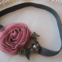 Valentine's Day Pink Floral Headband With Flower by lewisandbucky