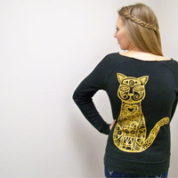 Cat sweater Metallic Gold on womens off the shoulder sweater eco friendly Alternative Apparel fleece sweater women sweatshirt