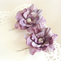 rhinestone pastel purple flower hair pins  by thehoneycomb on Etsy