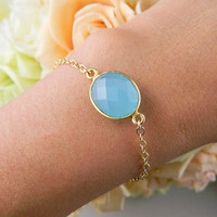 Bezel Aqua Chalcedony bracelet Gold filled by DanglingJewelry