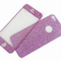 Glass+Back+Side Matte Glitter Screen Protector Sticker for iPhone 5 Purple:Amazon:Cell Phones & Accessories
