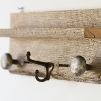 Antique Oak Barn Wood Coat Rack and Shelf