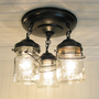 Vintage Mason PINT Jar CEILING LIGHT Trio