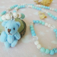 Girls Blue Teddy Bear Jewelry Set Pastel Multicolor Necklace, Bracelet