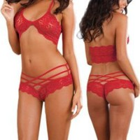 Hot Red Lace Lingerie Set - Bra Top & Matching Shorts