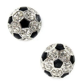 Sport Soccer Ball Crystal Rhinestone 14mm Drop Stud Fashion Earrings Silver: Jewelry: Amazon.com