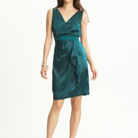 Silk ruffle front dress