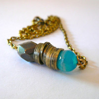 Pyrite Agate & Brass Ring Necklace by oiajules on Etsy