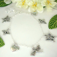 Silver butterfly, dragonfly, bee, apple Spring charm necklace