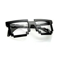 8 Bit Pixel Black Matte Pixelated Glasses Clear Lens Nerd Video Game Geek Party