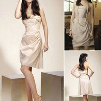 Sheath/ Column Strapless Short/Mini Taffeta Bridesmaid/ Cocktail/ Gossip Girl Fashion Dress co1019 - Celebrity Dresses - Apparel