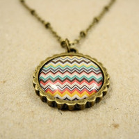 Aztec Chevron Necklace - Tribal Necklace - Aztec Zig Zag Pendant Necklace - Chevron Jewelry