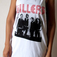 The Killers Shirts Women Tank Top white Killers music group Shirt Tunic Top Vest Sleeveless Women T-Shirt Size S M unisex free size