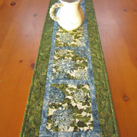 Quilted Table Runner Blue Floral on Luulla