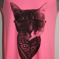 Gangster Cat Tank Top American Apparel Neon Pink L
