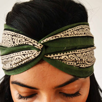 The Secret Garden Turban Headband Head Wrap  - Hand block printed, All Natural Vegetable Dyes, 100% Cotton Bohemian head band